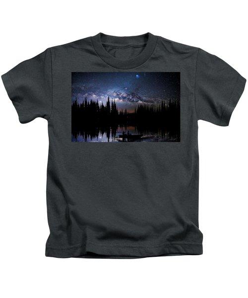 Canoeing - Milky Way - Night Scene Kids T-Shirt