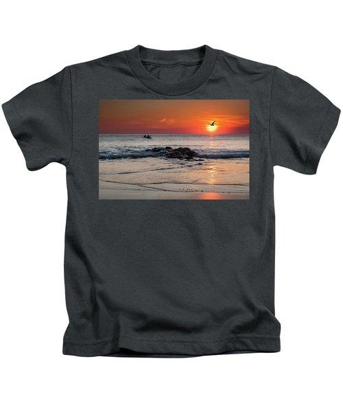 A Canoe At Crackington Haven At Sunset Cornwall Kids T-Shirt