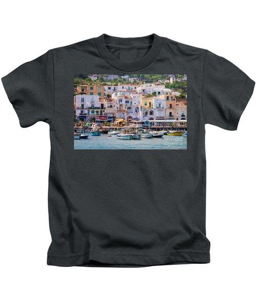 Capri Boat Harbor Kids T-Shirt