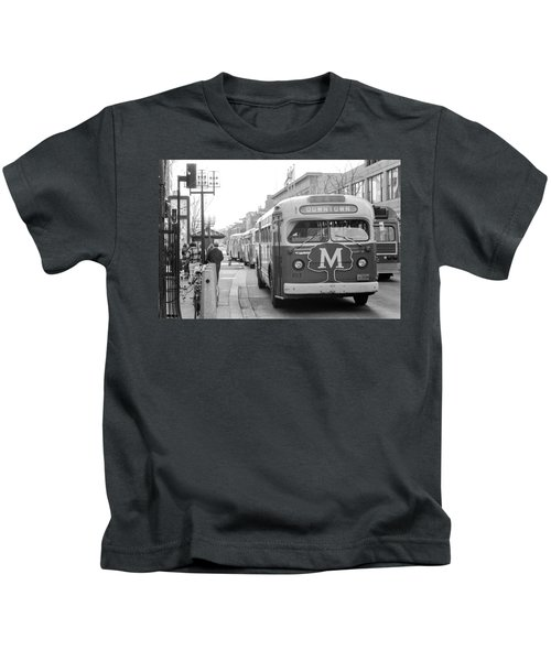 Caravan Of Buses On Nicollet Mall Kids T-Shirt
