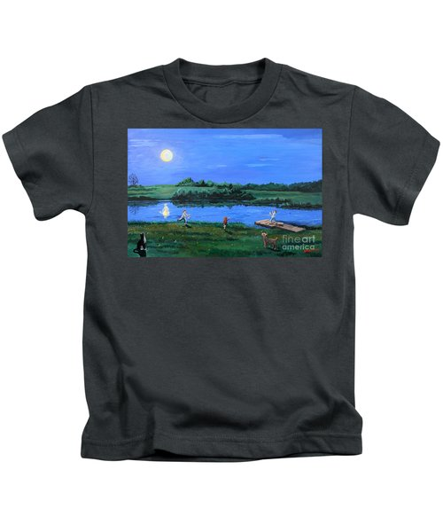 Catching Fireflies By Moonlight Kids T-Shirt