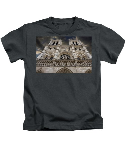 Cathedral Notre Dame Of Paris. France   Kids T-Shirt