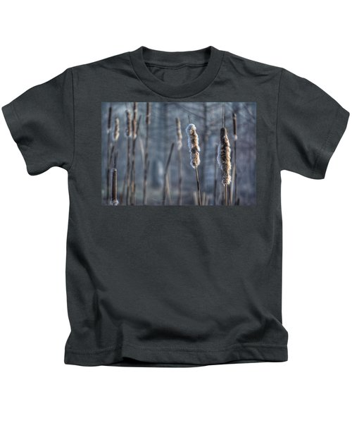 Cattails In The Winter Kids T-Shirt