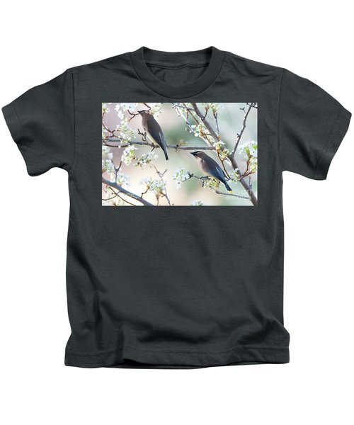 Cedar Wax Wing Pair Kids T-Shirt by Jim Fillpot