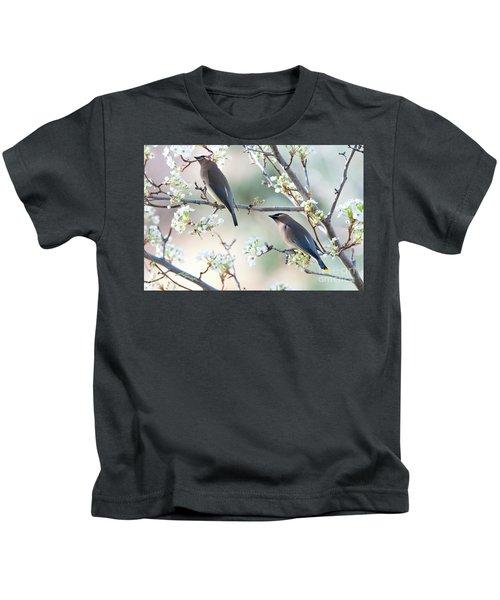 Cedar Wax Wing Pair Kids T-Shirt by Jim Fillpot