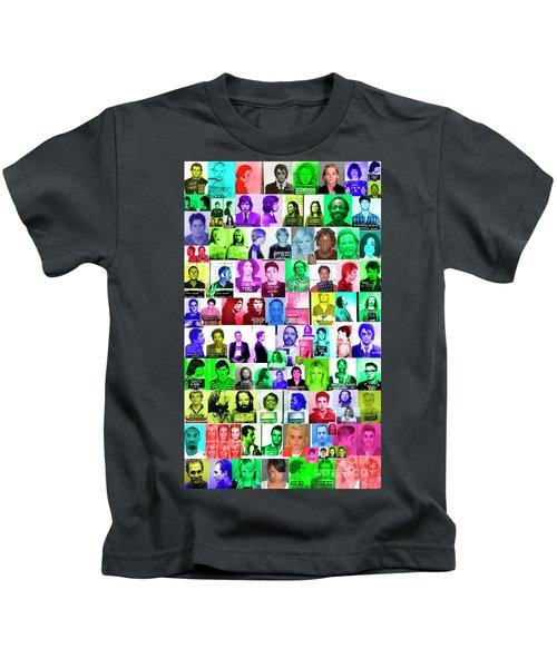 Celebrity Mugshots Kids T-Shirt by Jon Neidert