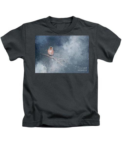 Chaffinch On A Cold Winter Day Kids T-Shirt