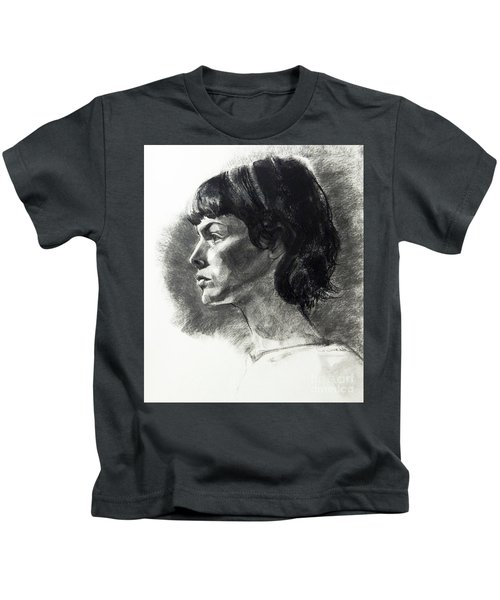Charcoal Portrait Of A Pensive Young Woman In Profile Kids T-Shirt