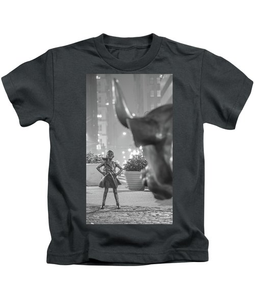 Charging Bull And Fearless Girl Nyc  Kids T-Shirt