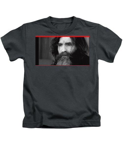 Charles Manson Screen Capture Circa 1970-2015 Kids T-Shirt