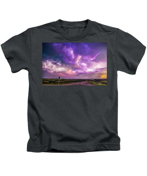 Chasing Nebraska Lightning 056 Kids T-Shirt