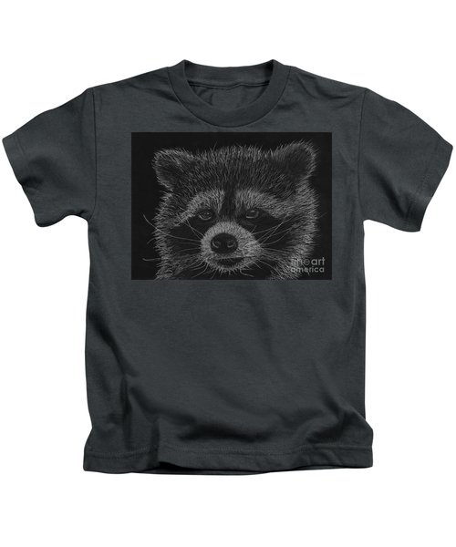 Cheeky Little Guy - Racoon Pastel Drawing Kids T-Shirt