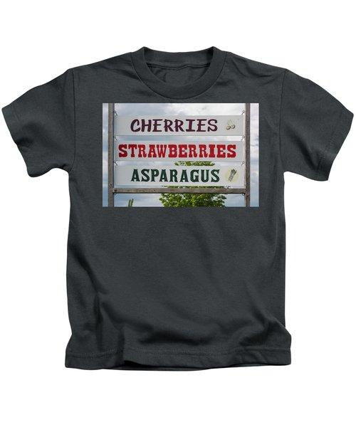 Cherries Strawberries Asparagus Roadside Sign Kids T-Shirt by Steve Gadomski