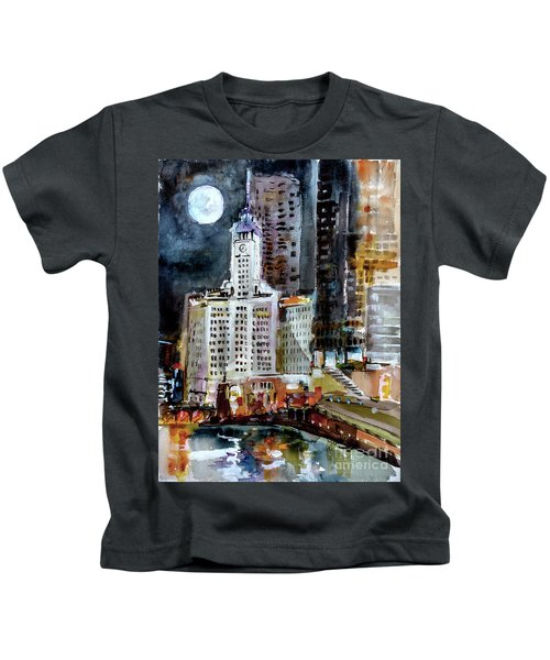 Chicago Night Wrigley Building Art Kids T-Shirt