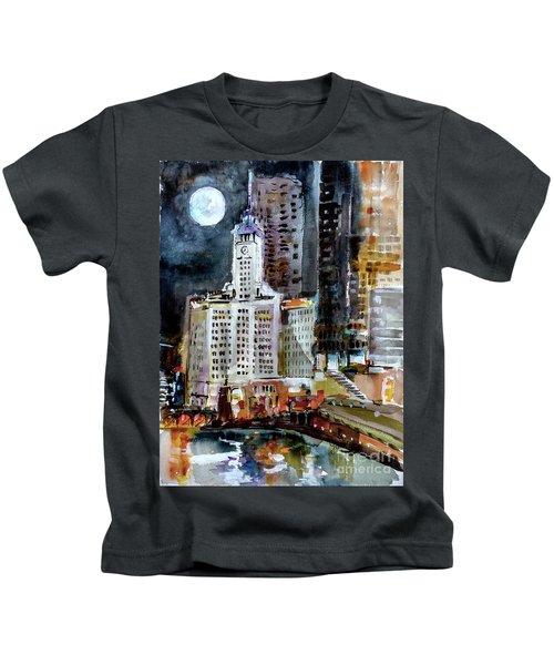 Chicago Night Wrigley Building Art Kids T-Shirt