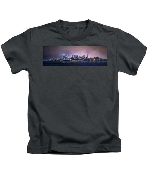 Chicago Skyline From Evanston Kids T-Shirt by Scott Norris