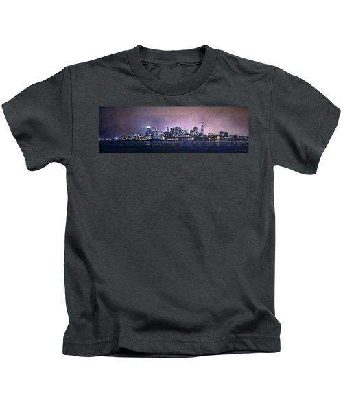 Chicago Skyline From Evanston Kids T-Shirt by Scott Norris