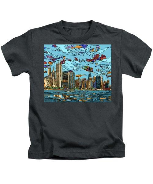 Chicago Skyline Panorama Kids T-Shirt