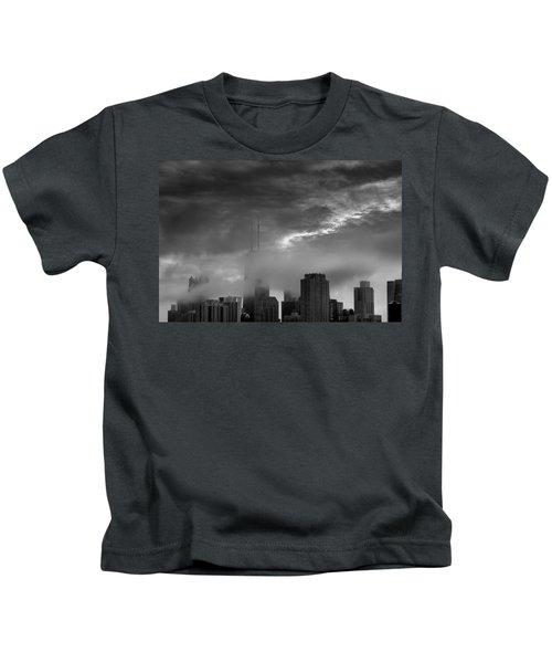 Chicago Skyline Storm B W Kids T-Shirt