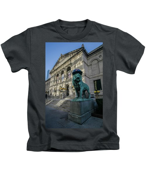 Chicago's Art Institute With Cubs Hat Kids T-Shirt