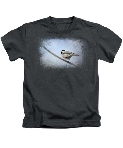 Chickadee In The Snow Kids T-Shirt by Jai Johnson