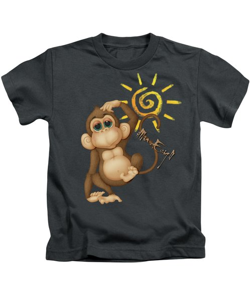 Chimpanzees, Mother And Baby Kids T-Shirt by Maria Astedt