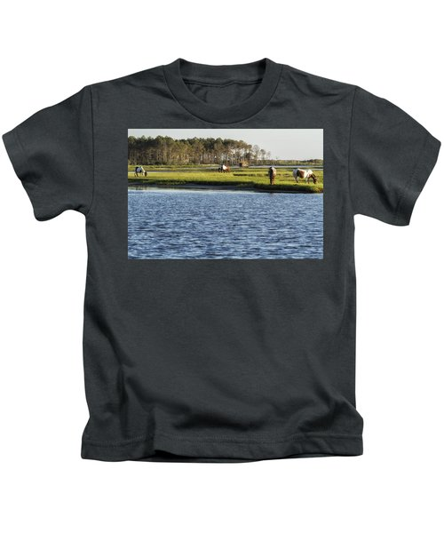 Chincoteague Ponies On Assateague Island Kids T-Shirt