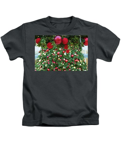 Christmas Holiday Red Ornaments On Garland Kids T-Shirt
