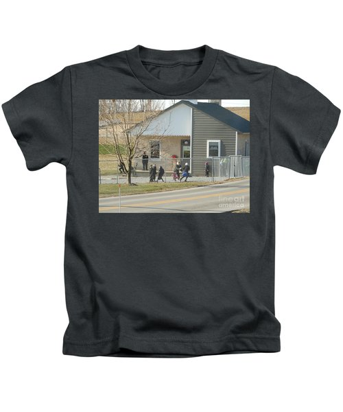 Christmastime At The Schoolhouse Kids T-Shirt