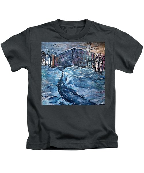 City Snow Storm Kids T-Shirt