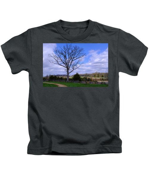 Civil War Fence And Tree With No Leaves Next In Gettysburg Penns Kids T-Shirt