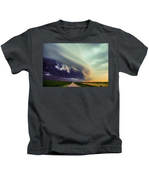 Classic Nebraska Shelf Cloud 024 Kids T-Shirt