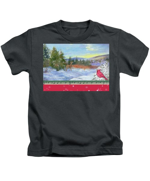 Classic Winterscape With Cardinal And Reindeer Kids T-Shirt