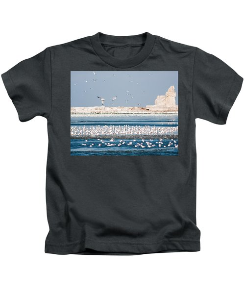 Cleveland Lighthouse In Ice  Kids T-Shirt