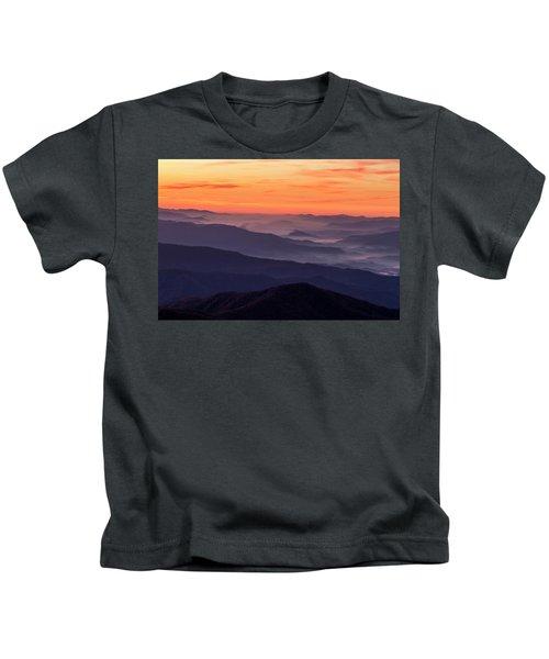 Clingmans Dome Fall Sunrise Kids T-Shirt