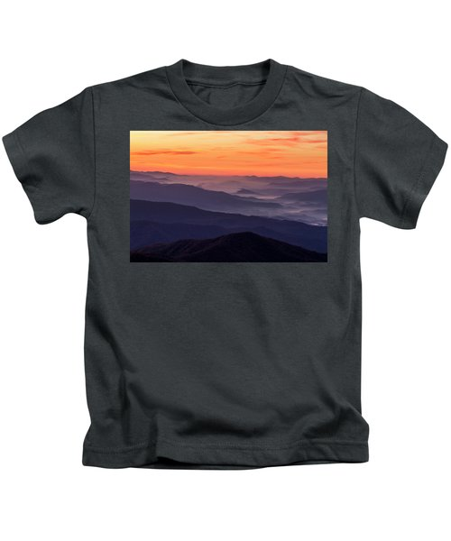Clingmans Dome Fall Sunrise Kids T-Shirt