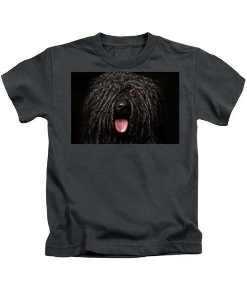 Close Up Portrait Of Puli Dog Isolated On Black Kids T-Shirt