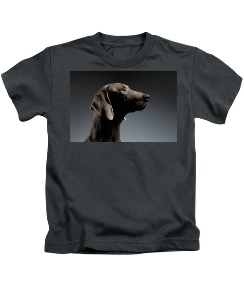 Close-up Portrait Weimaraner Dog In Profile View On White Gradient Kids T-Shirt