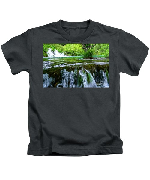 Close Up Waterfalls - Plitvice Lakes National Park, Croatia Kids T-Shirt