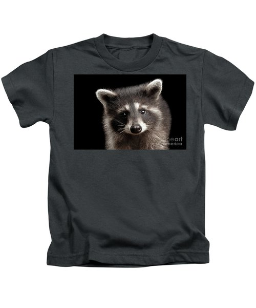 Closeup Portrait Cute Baby Raccoon Isolated On Black Background Kids T-Shirt