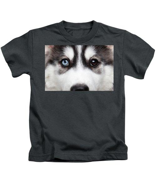 Closeup Siberian Husky Puppy Different Eyes Kids T-Shirt