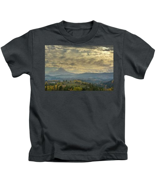 Clouds And Sun Rays Over Mount Hood And Hood River Oregon Kids T-Shirt