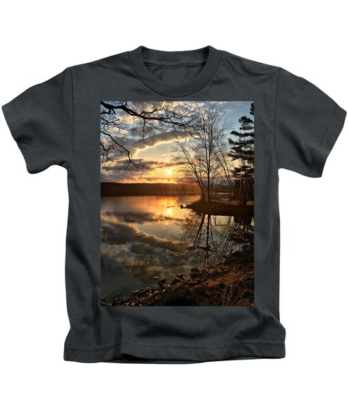 Clouds, Reflection And Sunset  Kids T-Shirt