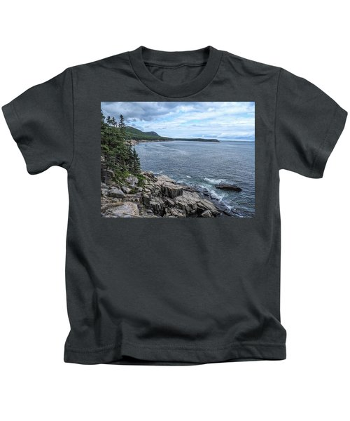 Coastal Landscape From Ocean Path Trail, Acadia National Park Kids T-Shirt