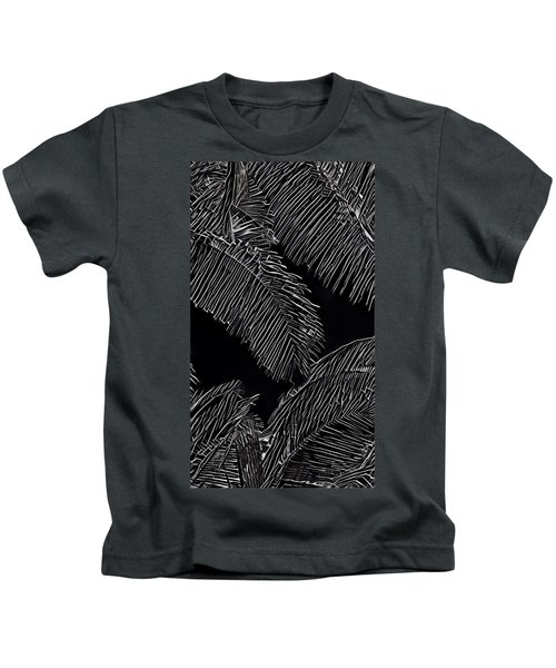 Coconut Palms In Black And White Kids T-Shirt