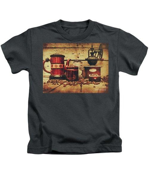 Coffee Bean Grinder Beside Old Pot Kids T-Shirt
