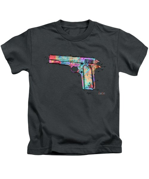 Colorful 1911 Colt 45 Browning Firearm Patent Minimal Kids T-Shirt