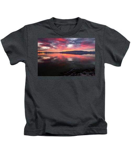 Colorful Utah Lake Sunset Kids T-Shirt