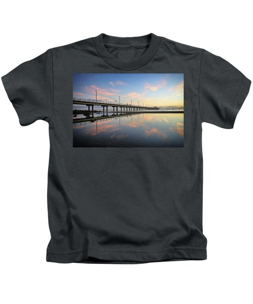 Colourful Cloud Reflections At The Pier Kids T-Shirt