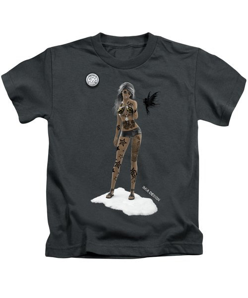 Cool 3d Girl With Bling And Tattoos In Black Kids T-Shirt